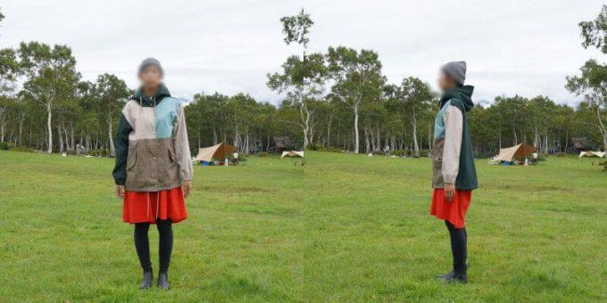 175cm女性が「リブ イン コンフォート×魅惑のキャンプ 綿素材にこだわった配色パーカー」レディースLL / メンズMサイズを着用