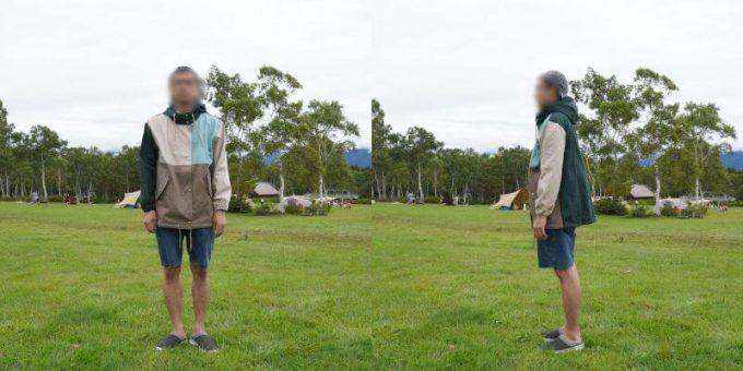 175cm男性が「リブ イン コンフォート×魅惑のキャンプ 綿素材にこだわった配色パーカー」レディース3L / メンズLサイズを着用