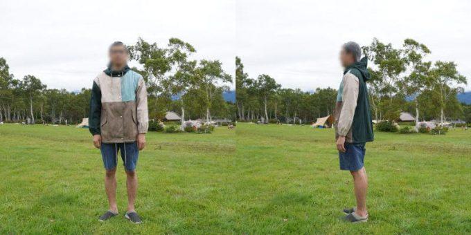 175cm男性が「リブ イン コンフォート×魅惑のキャンプ 綿素材にこだわった配色パーカー」レディースLL / メンズMサイズを着用