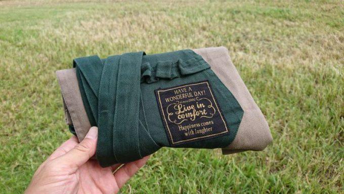フェリシモ リブイン コンフォート× 魅惑のキャンプ ポケットいっぱい 股割れカフェエプロンは畳むとコンパクト