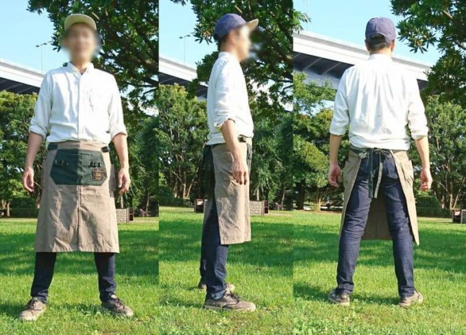 フェリシモ リブイン コンフォート× 魅惑のキャンプ ポケットいっぱい 股割れカフェエプロン メンズ着用