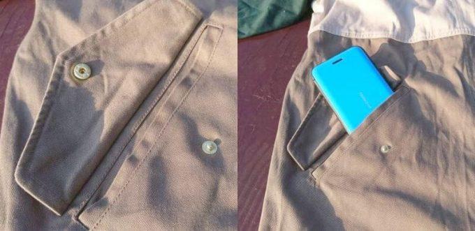 リブ イン コンフォート×魅惑のキャンプ 綿素材にこだわった配色パーカーのポケットは深くてボタン付き