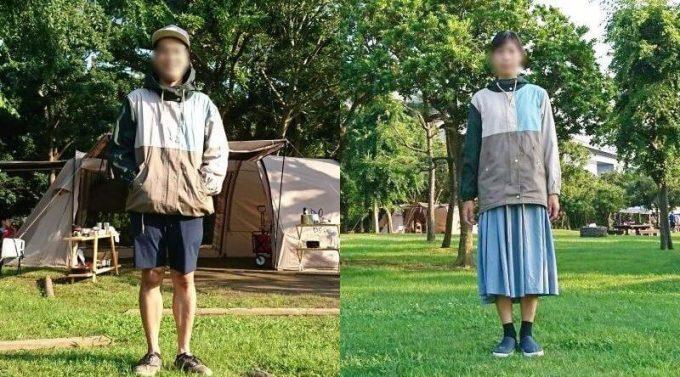 リブ イン コンフォート×魅惑のキャンプ 綿素材にこだわった配色パーカーを男女が着た写真