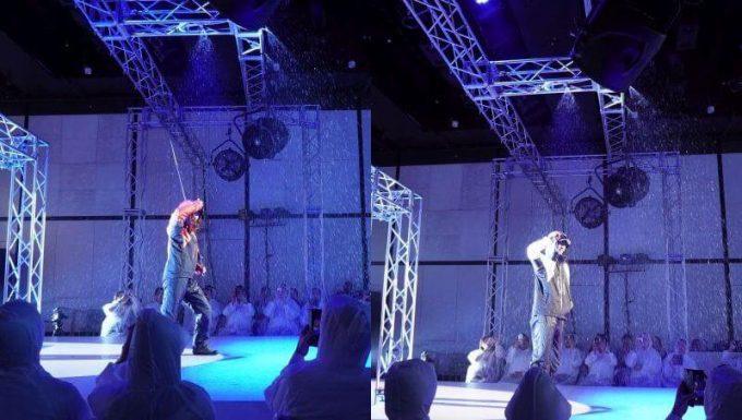 ワークマンの過酷ファッションショーで雨
