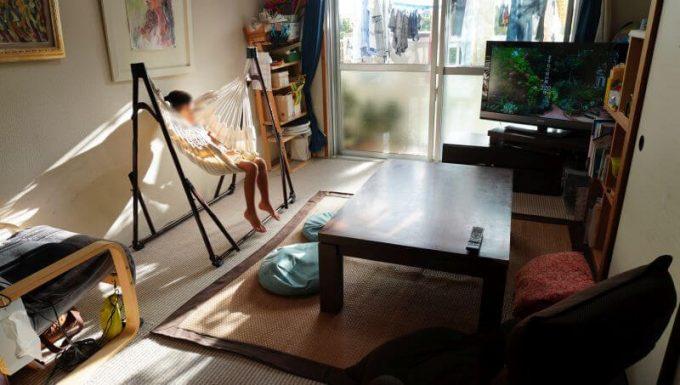 ゆらふわモックのハンモックチェアを室内で使う