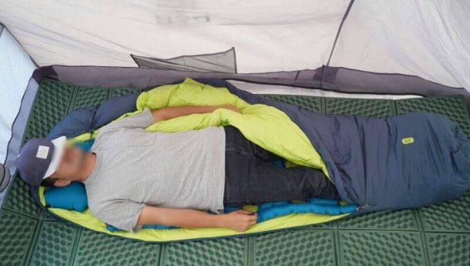 クライミット イナーシャ オゾンを寝袋の中に入れて寝る