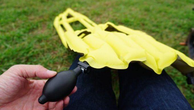 クライミット イナーシャ Xフレームを設置する(ポンプで膨らます)