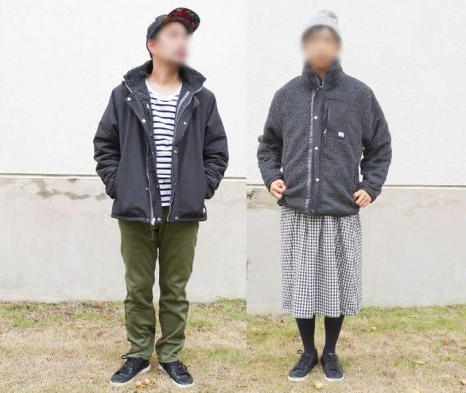 gym master(ジムマスター) リバーシブル マウンテン ジャケットを男女が着た写真