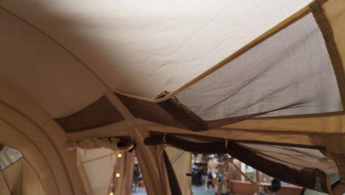 ノルディスク レイサ6レガシーの天井収納メッシュにスマホを入れる