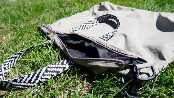 フェリシモ リブ イン コンフォート×魅惑のキャンプ たっぷり入って本当に使える!薄くて軽い親子バックセット 大バックのジッパー