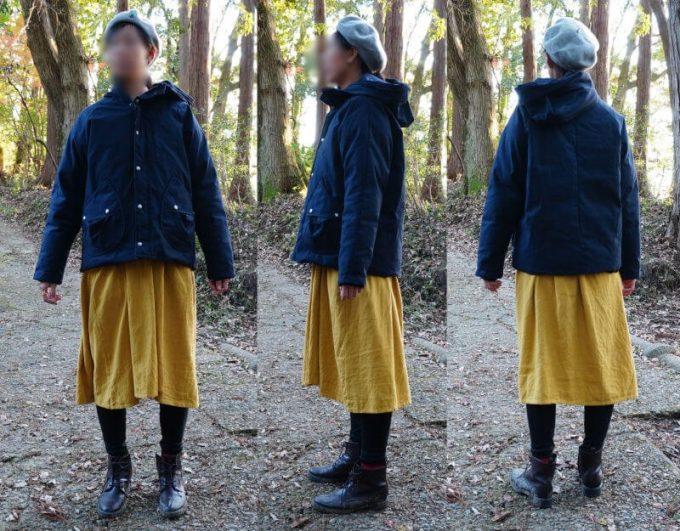 gym master(ジムマスター) ドロップポケットマウンテンパーカーを女性がスカートとコーデ