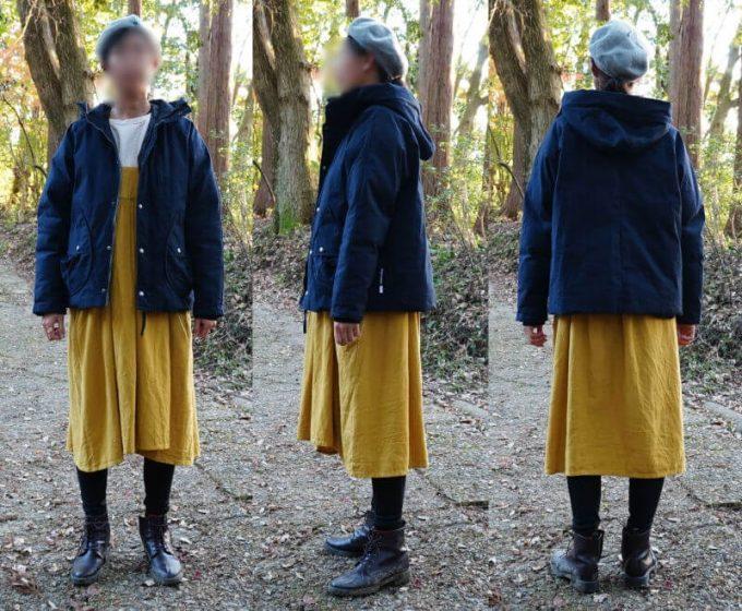 gym master(ジムマスター) ドロップポケットマウンテンパーカーを女性がスカートとコーデ(前開き)