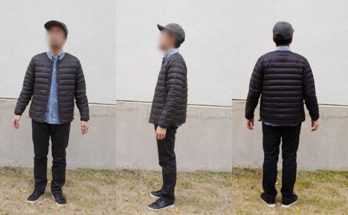 インナーダウン(袖あり)と裏ボアパンツ(ブラック)にデニムシャツを合わせたコーデ2
