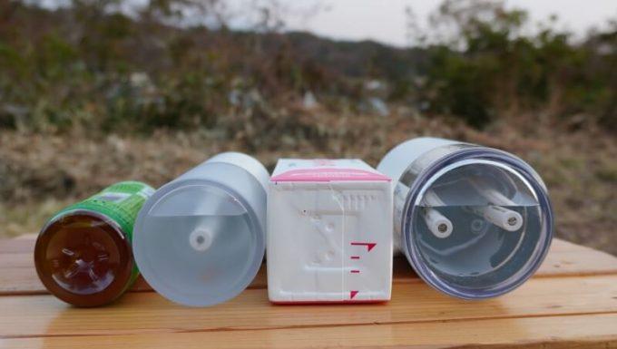 LUMENA加湿器(H2とH3)のサイズ比較、500mlペットボトル、1L牛乳パック