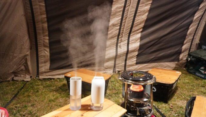 LUMENA加湿器(H2とH3)を最大噴霧量(ミスト)でストーブの脇で使う