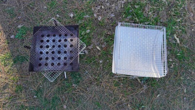 ハングアウト(HangOut)の焚火台 フレイムピット(Flame Pit)とファイアグリルを比較 (上から)