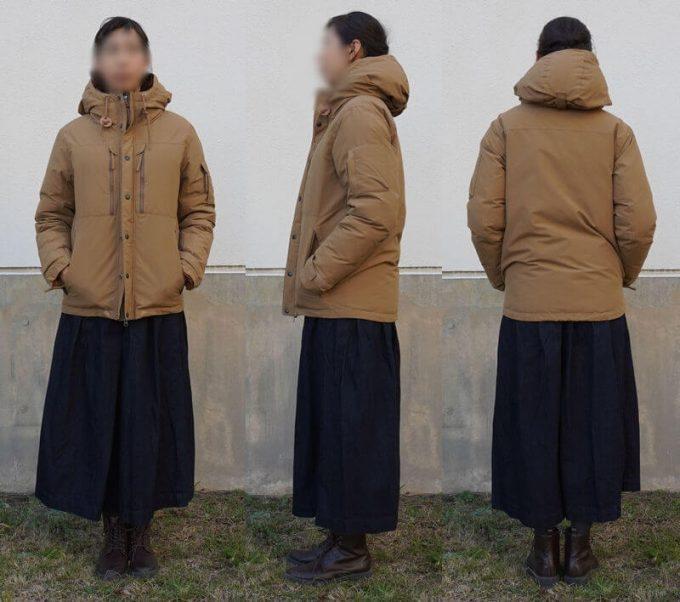 grn(ジーアールエヌ)ダウンジャケットのコーデ(レディース) スカート 前ジッパークローズ