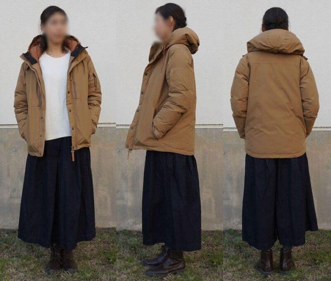 grn(ジーアールエヌ)ダウンジャケットのコーデ(レディース) スカート 前ジッパーオープン