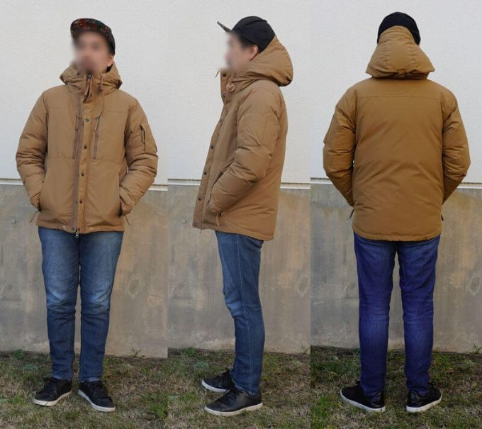 grn(ジーアールエヌ)ダウンジャケットのコーデ(メンズ) ユニクロEZジーンズ 前ジッパークローズ