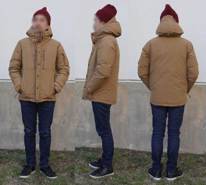 grn(ジーアールエヌ)ダウンジャケットのコーデ(メンズ) ユニクロスリムフィットジーンズ 前ジッパークローズ