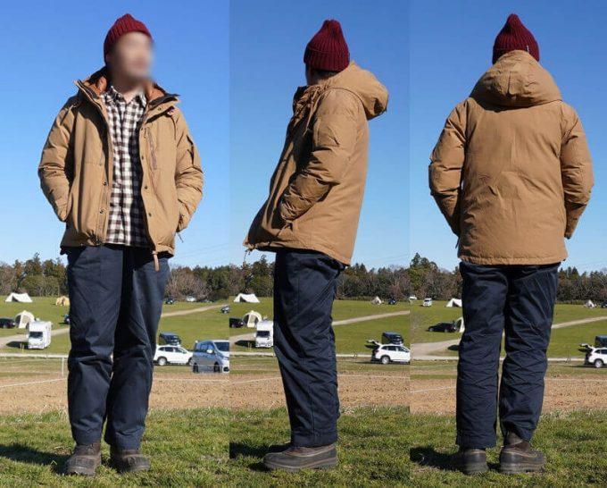 grn(ジーアールエヌ)ダウンジャケットのコーデ(メンズ) ワイドパンツ 前ジッパーオープン