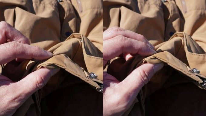 grn(ジーアールエヌ)ダウンジャケットの裾調整ストッパー
