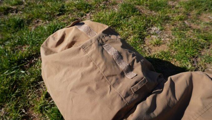 grn(ジーアールエヌ)ダウンジャケットのパーカー絞り調整マジックテープ
