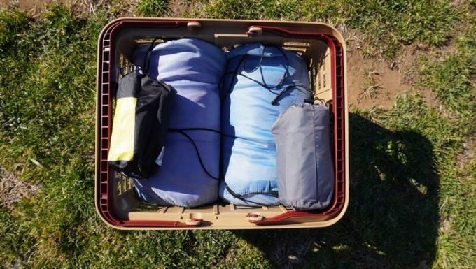 スタークアール(Starke-R)バスケットに寝袋を収納