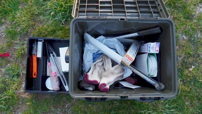 スタークアール(Starke-R)ボックスに焚火アイテムを収納