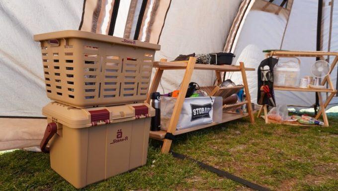 スタークアール(Starke-R)バスケットとボックス(ベージュ)をテント内でレイアウト