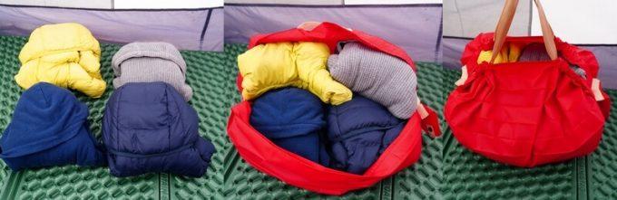キャンプの衣類をシュパット(Shupatto)に入れる