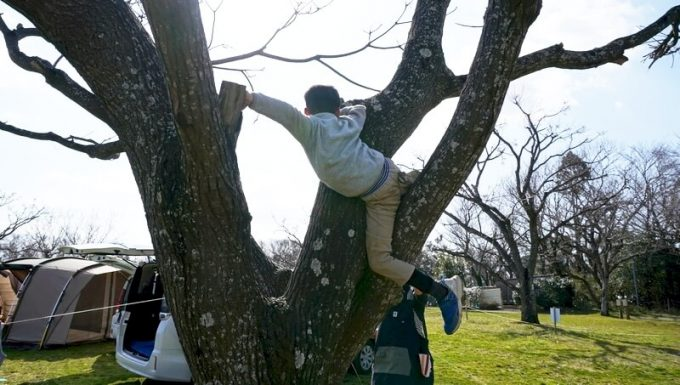 木登りで足を挟む