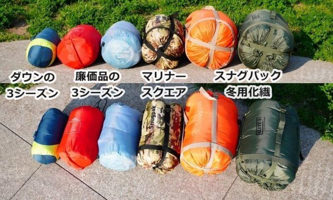 寝袋6種類のサイズを比較(3シーズン、オールシーズン冬用、ダウン、化繊)