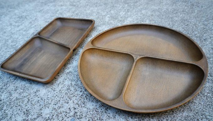 フェリシモ USEDo まるで本物の木のようなプラスティック仕切り皿 (斜めから)