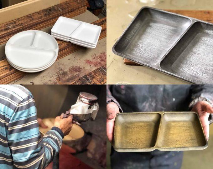 フェリシモ USEDo まるで本物の木のようなプラスティック仕切り皿は手作業で塗装