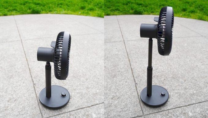 ルーメナー(LUMENA)の首振り扇風機 FAN PRIMEは首を伸ばすことができる
