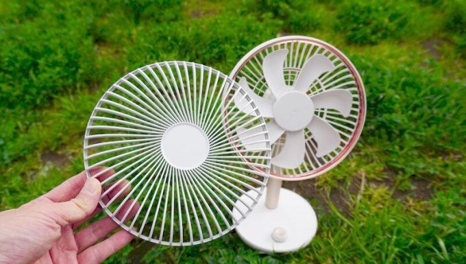 ルーメナー(LUMENA)の首振り扇風機 FAN PRIMEの前面ガードは取り外して掃除が可能