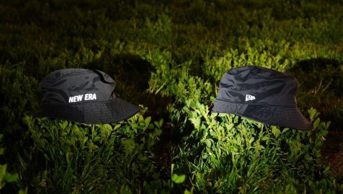 ニューエラ アウトドア アドベンチャーライト テック ストレッチ ハットの夜間の反射板効果