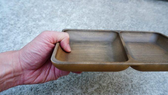フェリシモ USEDo まるで本物の木のようなプラスティック四角皿の会の仕切りの深さ