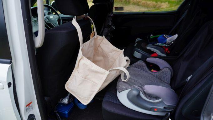 Rename帆布トートバッグを車内で物入れとして使う