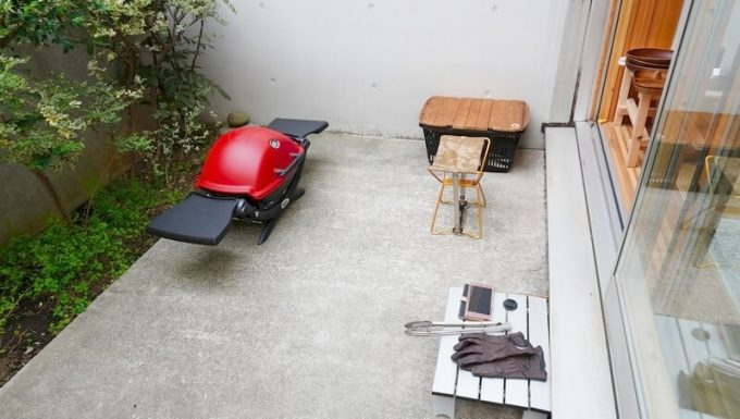 自宅の中庭でBBQする時の焼き場