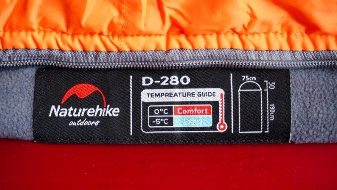 ネイチャーハイク(Naturehike)のエンベロープダウン寝袋のタグ