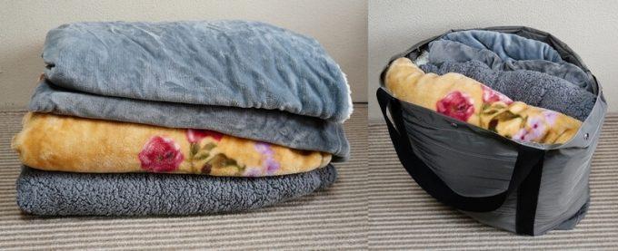 フェリシモ USEDo 超ビッグサイズナイロンバッグに毛布が4枚入る