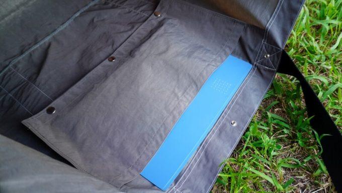 フェリシモ USEDo 超ビッグサイズナイロンバッグの内ポケットにA4ファイルが入る