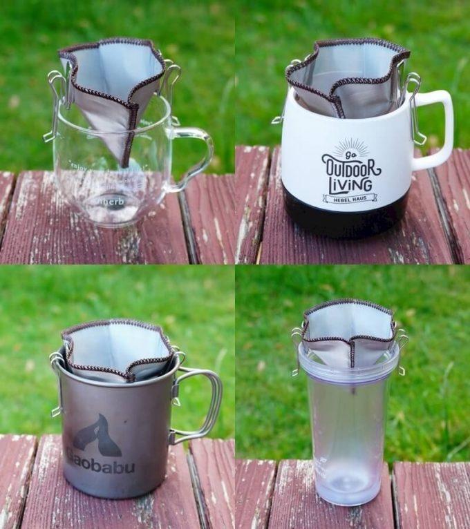 ステンレス珈琲フィルターを色々なカップにセットできる