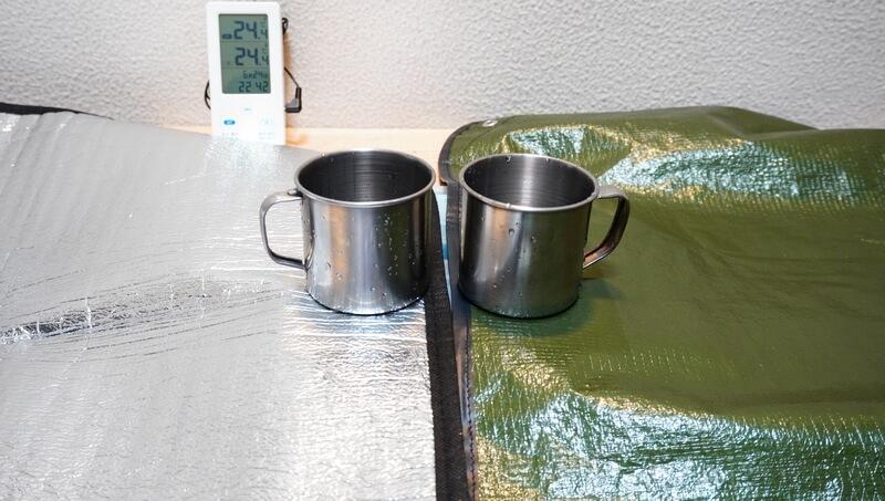 銀マット1枚と、グラバー オールウェザーブランケットの断熱性を比較検証