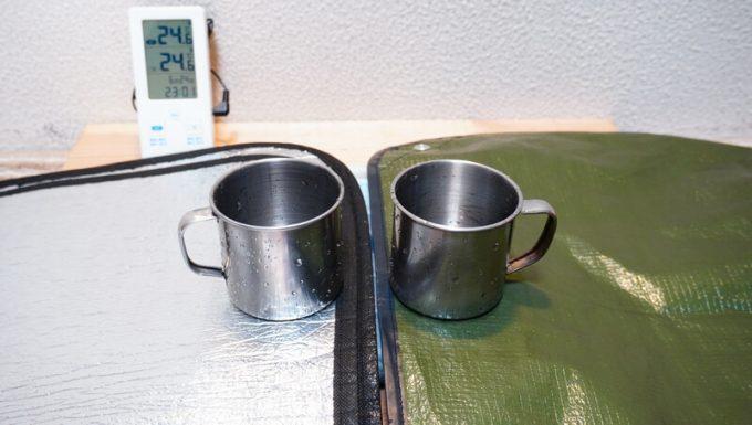 銀マット2枚と、グラバー オールウェザーブランケットの断熱性を比較検証