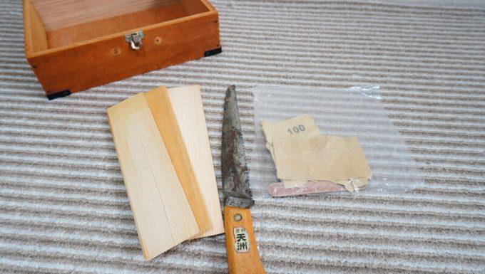 自作スパイスボックスの間仕切りの材料と道具