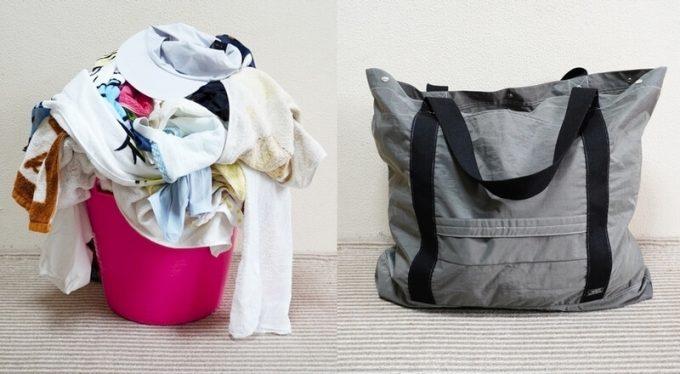 フェリシモ USEDo 超ビッグサイズナイロンバッグに家族4人分の洗濯物が入る