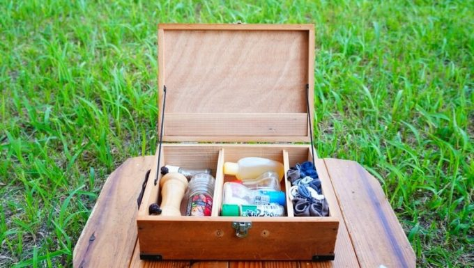 キャンプ用自作スパイスボックスの蓋を開ける